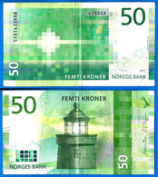 Norvege 50 Couronnes 2017 Norway Kroner Que Prix + Port Lighthouse Phare Banknote Paypal Bitcoin OK - Norway