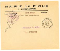 CHARENTE INFERIEURE ENV 1968 RIOUX RECETTE DISTRIBUTION AVEC N° DEPARTEMENT DUREE MOINS DE 2 ANS - 1961-....