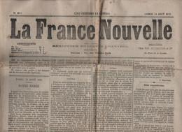 LA FRANCE NOUVELLE 14 08 1875 - ANDERSEN - TUNNEL SOUS LA MANCHE - MOSCOU INCENDIE - SAINT GERAND LE PUY - MONTCALM - 1850 - 1899