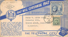 1947.- CANADÁ ILUSTRATED LETTER OF CENTENIAL BELL POSTMARK BRANTFORD/ONTARIO ADDRESED TO ARGENTINA - Cartas