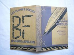 Protège Cahier Pub Crayons Crésus Plumes Baignol & Farjon Format 12X19 Cm - Papeterie