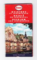 """Carte Routière Publicité """" ESSO """" Belgique / Luxembourg De 1958 - Roadmaps"""