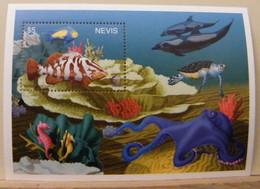 MZ13 - NEVIS 1995 - FOGLIETTO SHEET 5$ - FAUNA MARINA - PESCI  FISH - NASSAU GROUPER - St.Kitts Y Nevis ( 1983-...)
