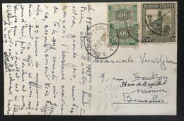 Ruanda-Urundi 1949 Carte Postale Avec Timbres-Taxe Vers Bruxelles Déviée Vers Namur - 1948-61: Covers