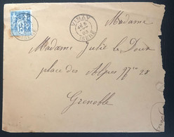 France 1893 Affranchissement Sage Sur Lettre De Vinay Vers Grenoble - 1876-1898 Sage (Type II)