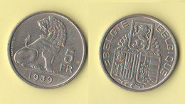 Belgio 5 Francs 1939 Belgique Belgium - 06. 5 Francs