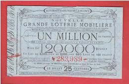BILLET LOTERIE MOBILIERE SAINT POINT ET MONCEAUX PRES MACON POUR LES CULTIVATEURS ET OUVRIERS VINICOLES DE M. LAMARTINE - Lottery Tickets