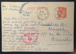 France 1945 Carte Postale Entier Iris De Gervais Vers Bruxelles Censure SS - Covers & Documents