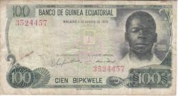 BILLETE DE GUINEA ECUATORIAL DE 100 BIPKWELE DEL AÑO 1979  (BANKNOTE) RARO - Equatorial Guinea