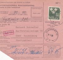 SUÈDE. INTERNATIONELL POSTANVISNING, MANDAT DE POSTE INTERNATIONAL. ANNEE 1968, VASTERAS A KARLSRUHE.- LILHU - Unclassified