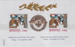 "Idee Europee - 2002 Romania ""Adesione Alla NATO"" In Foglietto (BF) MNH** - Europäischer Gedanke"