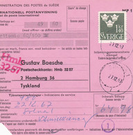 SUÈDE. INTERNATIONELL POSTANVISNING, MANDAT DE POSTE INTERNATIONAL. ANNEE 1967, SOLNA A HAMBURG.- LILHU - Unclassified