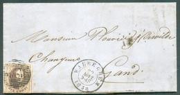 N°10A - Médaillon 10 Centimes Brun, Voisins, Obl. P.128 Sur Lettre De WAEREGHEM Le 29 Août 1858 Vers Gand. Belles Frapp - 1858-1862 Medallones (9/12)