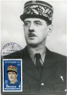 NOUVELLES HEBRIDES CARTE MAXIMUM A LA MEMOIRE DU GENERAL DE GAULLE 22 XI 1890 - 9 XI 1970 AVEC OBL PORT-VILA 19 JANV 71 - De Gaulle (Generale)