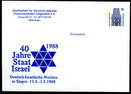 40 Years ISRAEL STAR OF DAVID Germany STO Envelope PU285 D2/005 Siegen 1988 - Jewish