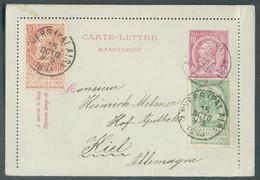 N°56/57 En Affr. Complémentaire Du E.P. Carte-lettre 10c. Em. 1884, Obl. Sc ANVERS (PALAIS) Du 15 Octobre 1893 Vers Kiel - Cartas-Letras