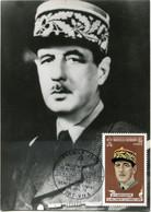 NOUVELLES HEBRIDES CARTE MAXIMUM RALLIEMENT AU GENERAL DE GAULLE 20 VII 1940 - 20 VII 1970 AVEC OBL PORT-VILA 20 JUIL 70 - De Gaulle (Generale)