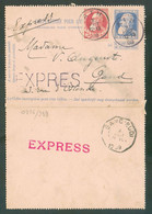N°74 En Affr. Complémentaire Du E.P. Carte-lettre 25c. Grosse Barbe Obl. Sc ATHen Exprès Le 3 Août 1909 Vers Gand- 18 - Cartas-Letras