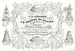 DE 674 - Carte Porcelaine De J.B. Smeers Et Dupire, Patissiers. Confiseurs & Glaciers. Tournai, - Sin Clasificación