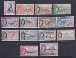 TURKS AND CAICOS 1957, SG# 237-250, CV £70, Ships, Fish, MNH - Turks And Caicos