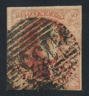 """Belgium 1851 Medaillons Wmk. """"un-framed LL"""" 40c Red With Perception Cancel """"133"""" (YPRES), Very Good Condition, COB 8 - 1851-1857 Medaillons (6/8)"""