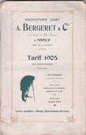 Très Rare Catalogue PHOTOTYPIE D'ART De A.BERGERET Et CIE NANCY - Tarif 1905 Net Pour éditeurs Cartes Postales - Sonstige
