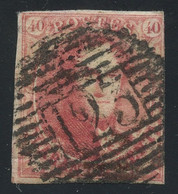 """Belgium 1849 Medaillons Wmk. """"framed LL"""" 40c Carmine On Thin Paper Used, Very Good Condition, COB 5, Cat. €575 - 1849-1850 Medaillons (3/5)"""