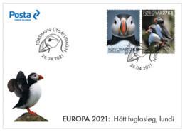 Europa 2021 - Foroyar Féroés -  Endangered Species, Espèces En Danger, Gefährdete Arten (Macareux Moine, Puffin) FDC - Altri