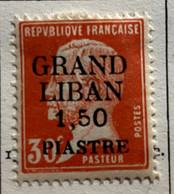 AFR96 Grand Liban Timbre De France 1923 Pasteur  Surchargé N°16 Neuf* - Unused Stamps