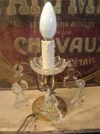 Petite Lampe Bougeoir à Pampilles Cristal Et Bronze. - Lamps