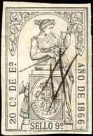 ESPAGNE / SPAIN / ESPAÑA Fiscales ANO 1866 Pólizas Sello 9° 20Cs De E° - Usado - Muy Bonito - Revenue Stamps