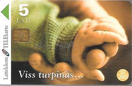 CARTE-PUCE-LETTONIE-5 LATI-02/2000-CALENDRIER 2000-TB E - Lettonia