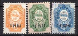 LEVANT - (Bureaux Russes) - 1909 - N° 36 à 39 - (Timbres De Russie Avec Vaisseau Et Dates 1857-1907) - Levant