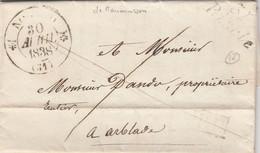 LETTRE. 30 AVRIL 1838. GERS NOGARO. CURSIVE 31/Riscle. (26mm). DE MAUMUSSON POUR ARBLADE. PP - 1801-1848: Precursors XIX