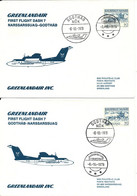 Greenland SAS First Dash 7 Flight Godthab - Narssarssuaq 6-10-1979 And Return 2 Covers - Briefe U. Dokumente