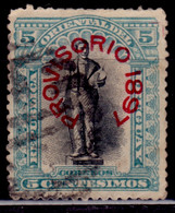 "Uruguay, 1897, Unveiling Of President Joaquin Suarez Monument, Overprinted  ""Provisorio 1897"", 5c, Used - Uruguay"