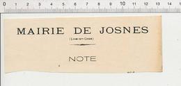 Partiel Feuillet Mairie De Josnes (41) Pour Illustrer Votre Album De Cartes Postales 198PF54 - Non Classificati