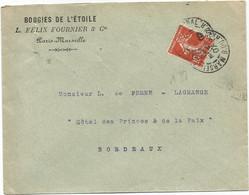 SEMEUSE 10C PERFORE X LETTRE ENTETE BOUGIES DE L'ETOILE L FELIX FOURNIER MARSEILLE 1907 - Perfins