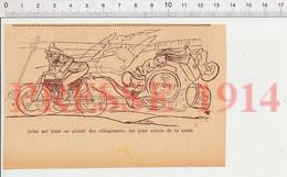 Humour De 1914 Ancienne Motocyclette Moto Et Remorque Lunettes De Motard Transport 198PF54 - Non Classificati