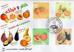 Algérie 2017 FDC 1786/1789 Fruits Et Légumes: Pèche, Clémentine, Citrouille, Aubergine - Argelia (1962-...)