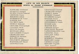 Chapelle-lez-Herlaimont Liste De Nos Soldats Morts Au Champ D'Honneur - Chapelle-lez-Herlaimont