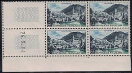 LOURDES - N°976 - BLOC DE 4 - COIN DATE - 24-5-1954 - COTE 3€ - 1940-1949