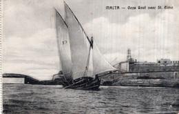 CPA   MALTA---GOZO BOAT NEAR ST-ELMO---1916 - Malta