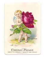 CHROMO GAUFFRE  CHOCOLAT POULAIN - PETIT ANGELOT ET  BOUQUET DE ROSES - Poulain