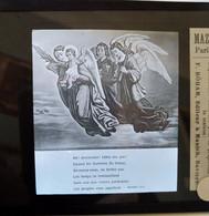 """Lot De 5 Plaques De Verre Lanterne Magique - """" Venez Divin Messie """" - Chanson - Éditions MAZO Paris - Diapositiva Su Vetro"""