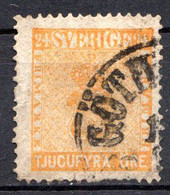 SUEDE - 1858-70 - N° 9 - 24 O. Orange - (Armoiries) - Gebraucht
