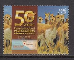 2017 Peru National Park Llamas Complete Set Of 1 MNH - Peru