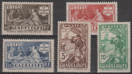 GUADELOUPE - 1935 Tercentenary (less 1.75f). Scott 142-147. Mint Light Hinge - Unused Stamps