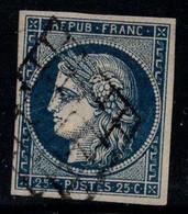 France 1850 Yv. 4 Oblitéré 100% Signé Cérès, 25 C - 1849-1850 Ceres