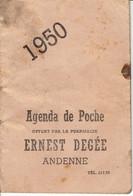 Agenda De Poche 1950 Ernest Degée Andenne Thé Purgatif ANDANA Poudre  Andana Pour Les Bébés - Other